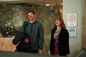 "DIFFICULT PEOPLE -- ""Unplugged"" Episode 201 -- Pictured: (l-r) Billy Eichner as Billy Epstein, Julie Klausner as Julie Kessler -- (Photo by: Linda Kallerus/Universal Cable Productions)"
