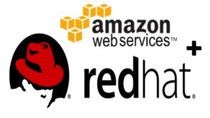 aws and red hat combined logo