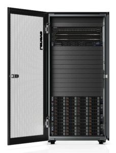 This high-res image of the Lenovo ThinkAgile CX2200 in a 25U Rack shows the front Rack door open