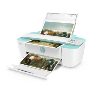 HP DeskJet Ink Advantage 3785 All-in-One, 3700 Series, Left facing, Open, with input & output