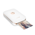 HP Sprocket Photo Printer (White), Right facing, with output