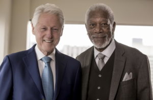 New York City - President Bill Clinton poses with host Morgan Freeman as seen on National Geographic's The Story of Us with Morgan Freema.  (National Geographic/Zach Dilgard)